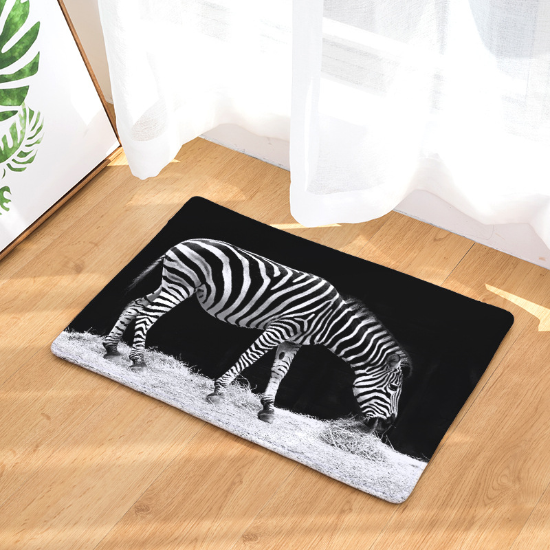 Us 7 72 48 Off Cammitever Black White Zebra Soft Carpet Area Rug Floor Mats Dining Living Room Bedroom Home Office Animal Decoration New In