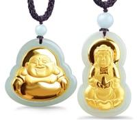 Naturale HeTian Yu 100% Puro Solido 18 K Oro Buddha Kwan-Yin Fortunato Amuleto Ciondolo + Collana + Certificato Fine Jewelry