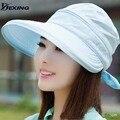 [Dexing] summer sun sombreros arco de la vendimia sombreros de verano para mujeres chapeau sombrero gorras de visera de sol playa viajes ocasionales femme gorras