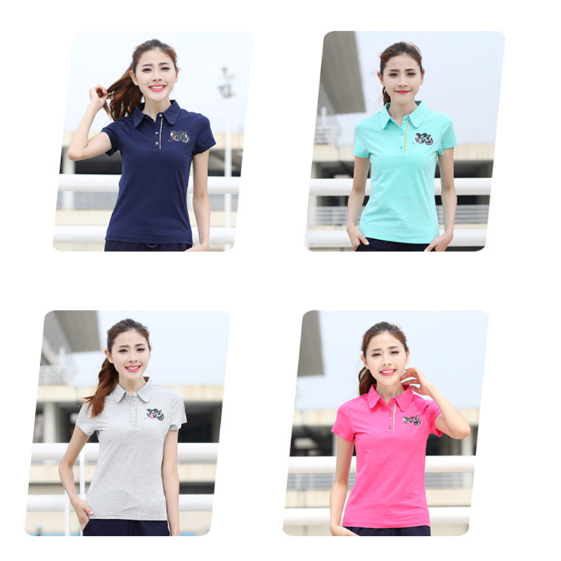 ZYFPGS 2019 Summer Pure Color Women 39 s Polos Lapel Camisa Feminina Casual Button T Polos Slim T Women Cotton Horse L0519 in Polo Shirts from Women 39 s Clothing