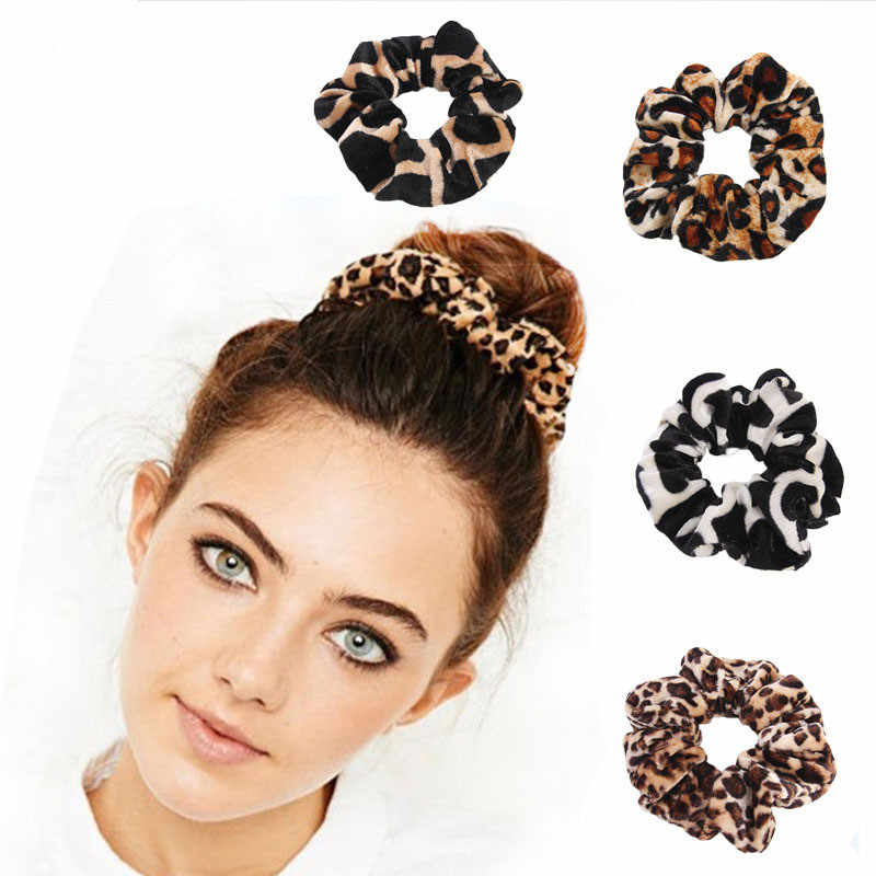 Women Animal Leopard Velvet Solid Elastic Hair Bands Ponytail Holder Scrunchies Tie Hair Rubber Band Headband Hair Accessories