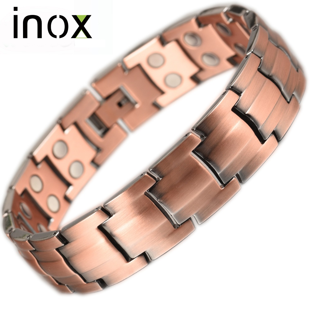 fcc2003b72eac US $11.72 29% OFF|Inox Jewelry Pure Copper life Bracelet Bangle For Men  Women Health Magnetic Therapy Hand Bracelets-in Chain & Link Bracelets from  ...