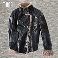 Winter women black genuine leather jackets sheepskin shearling motorcycle jacket outwear coat veste en cuir femme LT1102