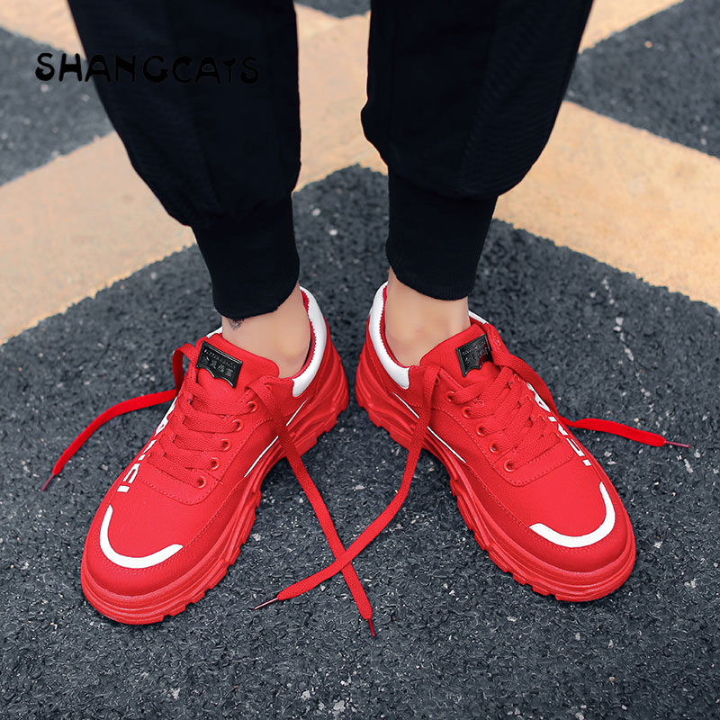 2019 Spring  men shoes red black beige cool fashion style high sole wear resistant zapatillas men footwear casual new design