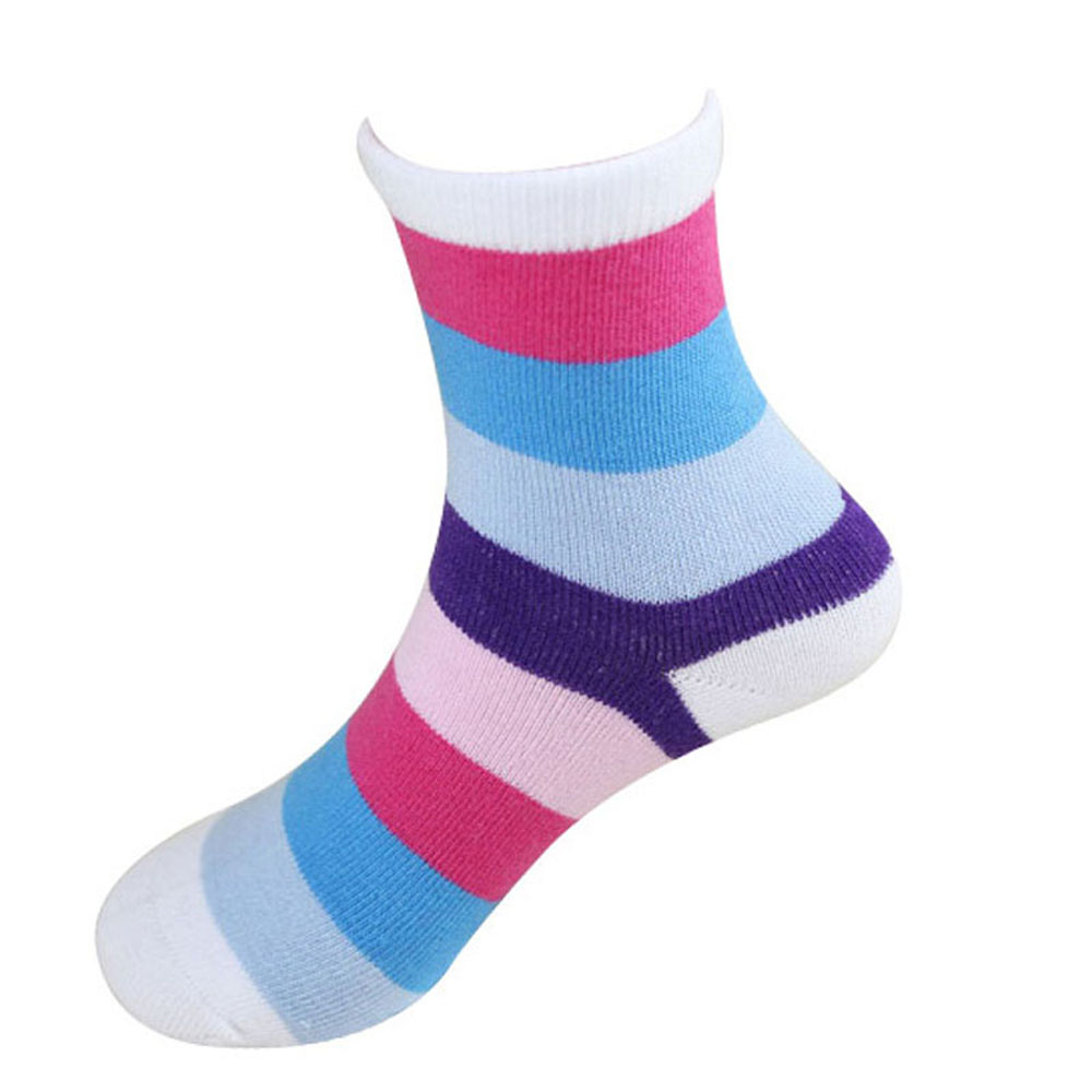 1Pair New Cute Cotton Candy Color Striped Socks Rainbow Children Boys Girls Soft Hosiery Random Color