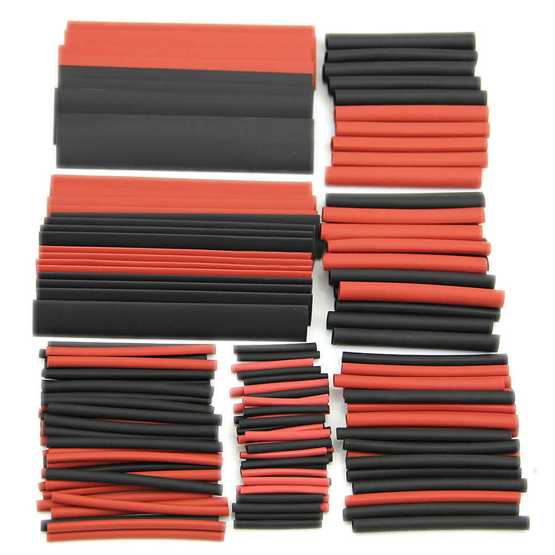150pcs Polyolefin 2:1 Heat Shrink Tubing Tube Sleeving Wrap Wire Assortment Kit Black Red with Plastic Case ledron tubing 2 black