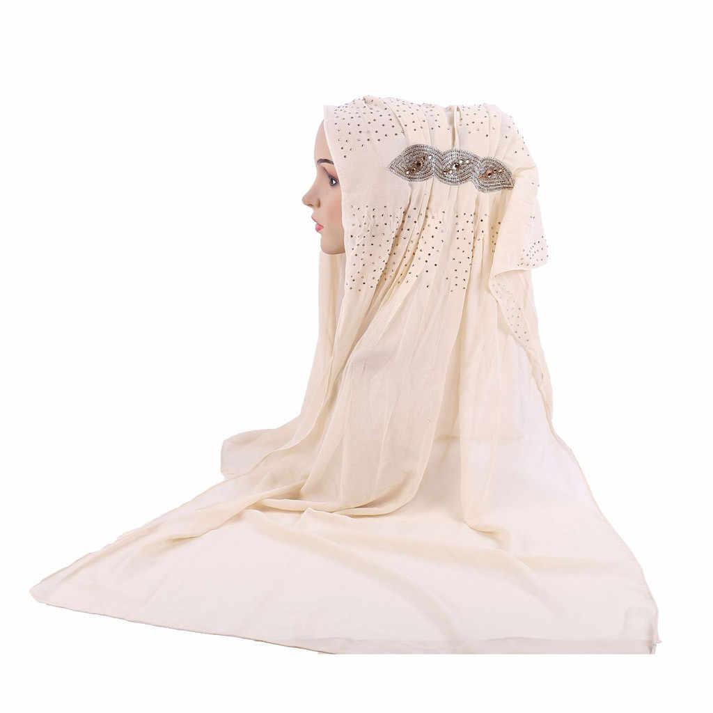 Мерцающий Блестящий Золотой блестящий Простой шифон мусульманский хиджаб шарф платок головной убор #20