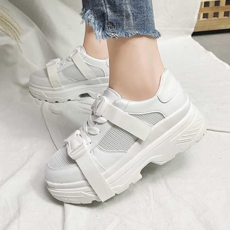 Women Buckle Platform Casual Shoes Trend White Women Chunky Sneakers Mesh Breathable High Street Ladies Shoes 185w