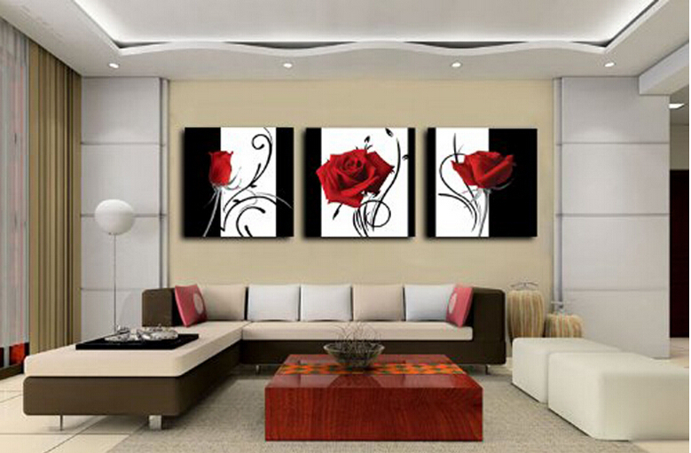 3 panel red rose home decorative canvas painting living - Wall decor painting ideas ...