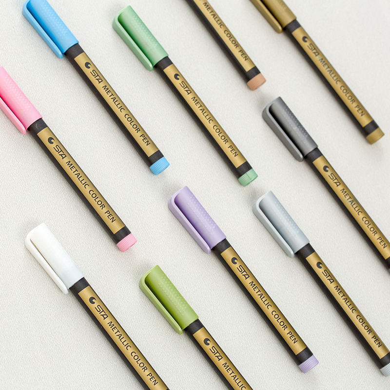 10 pcs/Lot Metallic color pen Luxury 2mm water based marker for album black brown card Drawing School supplies FB606