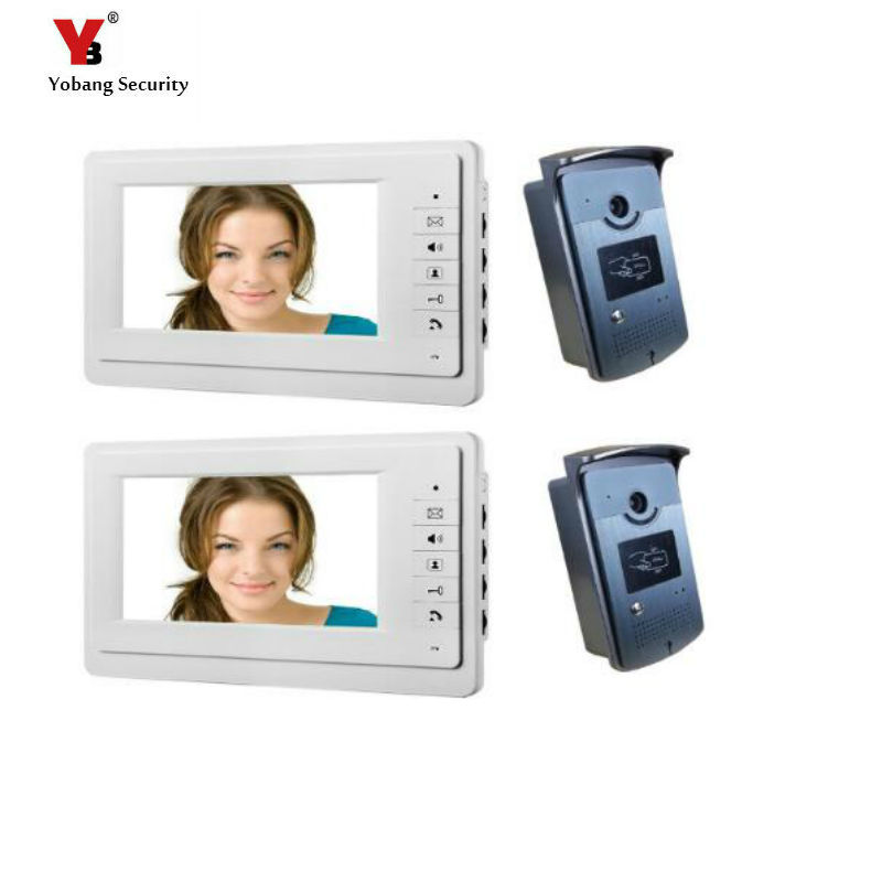 Yobang Security freeship 7 video intercom video doorbell phone intercom system white monitor outdoor with waterproof camera