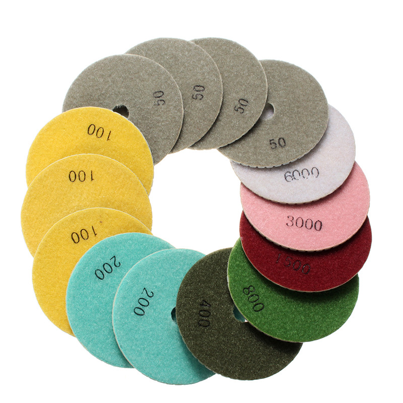 купить Doersupp 15PCS/set Diamond Polishing Pads 4 Inch Wet/Dry Set Granite Stone Concrete Marble 50/100/200/400/800/1500/3000/6000 недорого