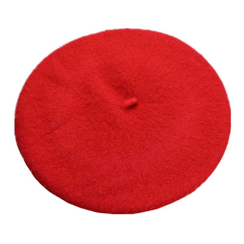 DOUBCHOW Дети Девочки Мальчики художник французский береты шапки дети шерсть смешивание сплошной цвет черный красный черновато зеленый Baret плоская шляпа