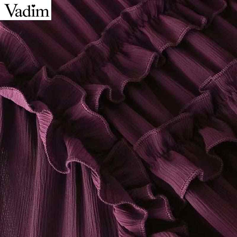 Vadim, милый, Женский гофрированный шифон рубашки, бабочка шеи прозрачный Плиссированные Длинные рукава милые Блузы свободного покроя шикарные топы blusas LT2453