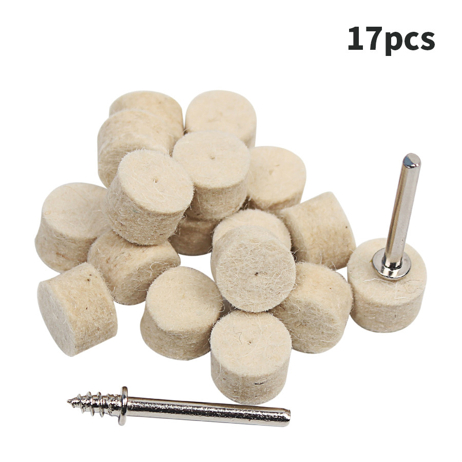 17pcs 1/2 Felt Polishing Wheel Dremel Accessories Fits For Dremel Rotary Tools Dremel Tools Small new 20pc fold felt sanding dremel accessories for rotary tools