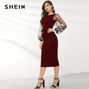 Image 4 - שיין שחור Applique רקום רשת שרוול עיפרון שמלת נשים סתיו אלגנטי מקרית סירת צוואר בישוף שרוול עיפרון שמלות