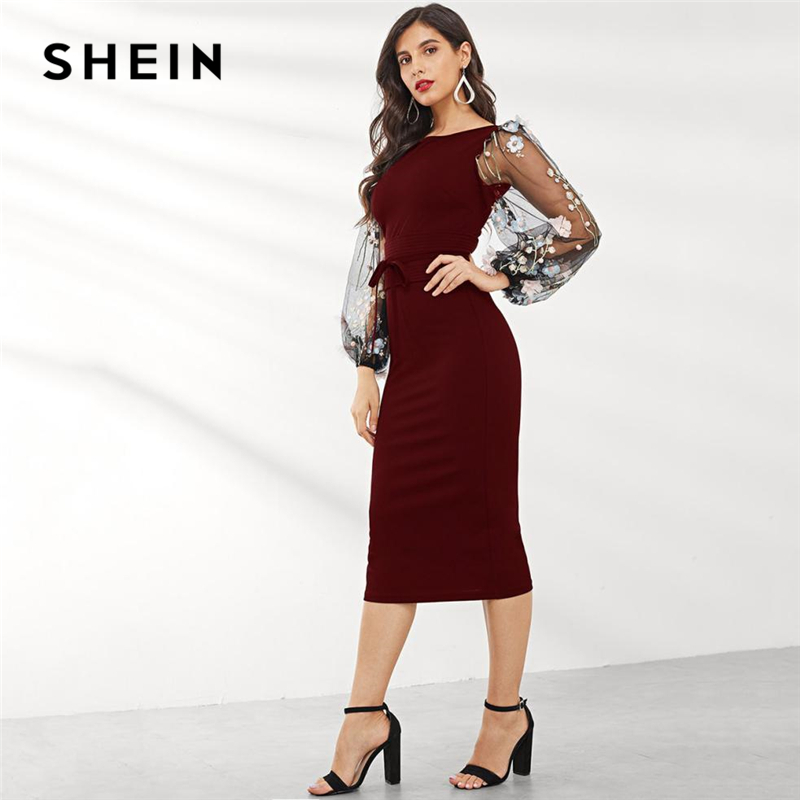 Image 4 - SHEIN Black Applique Embroidered Mesh Sleeve Pencil Dress Women 