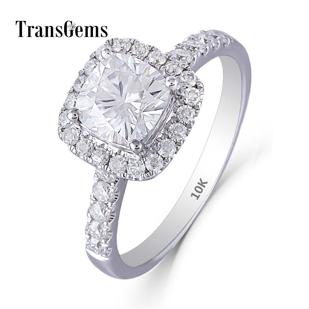Transgems 1.1ct 6X6mm FG Color Cushion Cut 14K 585 White Gold Moissanite Halo Engagement Ring for Women Emgagement Gold Ring 3ct moissanite two tones emgagement ring 14k 585 white gold and yellow gold 9mm diameter f color wedding ring for women