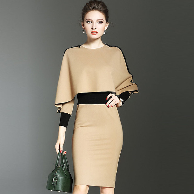 926717cad2e 2019 Autumn Winter Fashion Elegant Long Sleeve Cape Dresses Women  Streetwear Casual Slim Office Lady bandage Party Dress