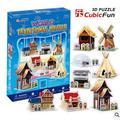 Средний Размер Cubicfun 3D Бумаги Головоломки C100H Мировой Традиционные Дома 82 шт. Украшения