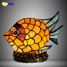 FUMAT Stained Glass Fish Lamp Creative Gift Colorful LED Table Lamp Home Decor Living Room Office  Kids Room Deco Table Lamps