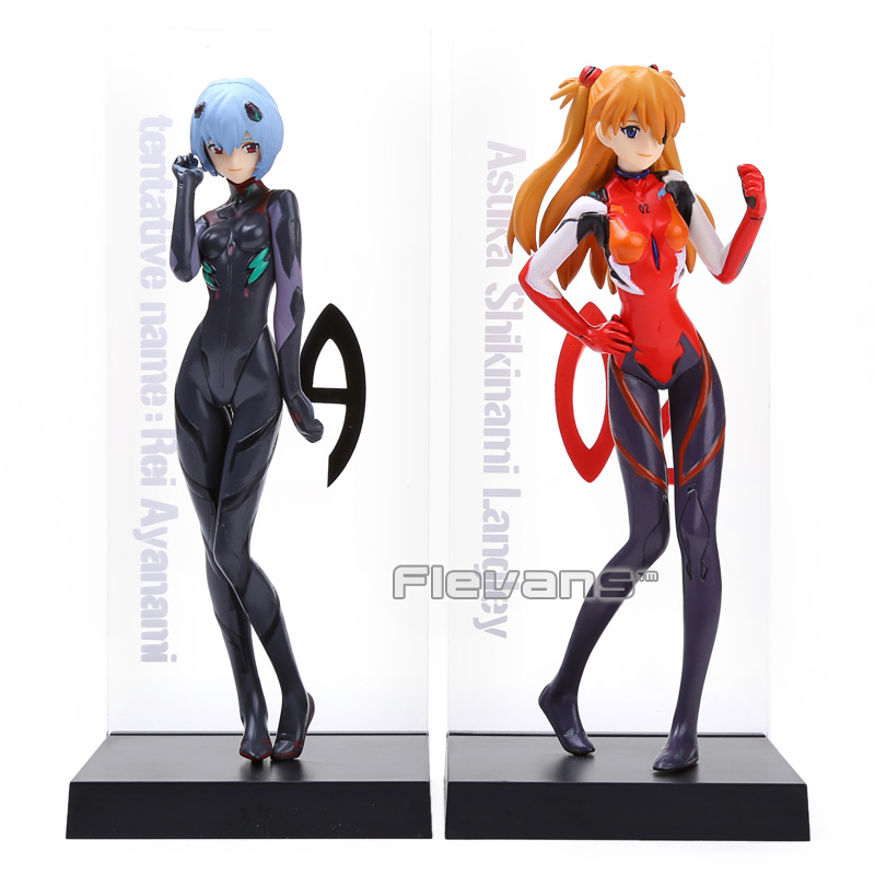2pcs set EVA Neon Genesis Evangelion Ayanami Rei Soryu Asuka Langley PVC Action Figure Collectible Model