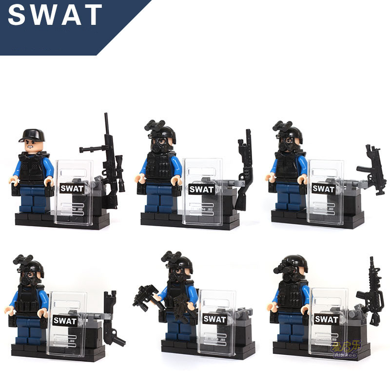KAZI 84033 6pcs City police SWAT team CS Commando Army soldiers with Weapon Gun Blocks Compatible with Legoes Military Toy