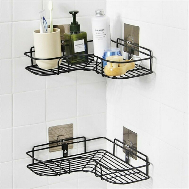Durable Bathroom Caddy Tray Holder Rack Organiser Accessory Pole Shelf Shower No Sticker