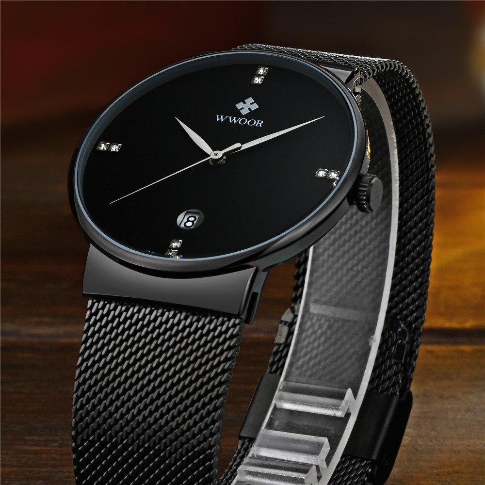 WWOOR Horloge Heren Modemerk Herenhorloges Quartz Ultra Dunne stalen - Herenhorloges - Foto 2