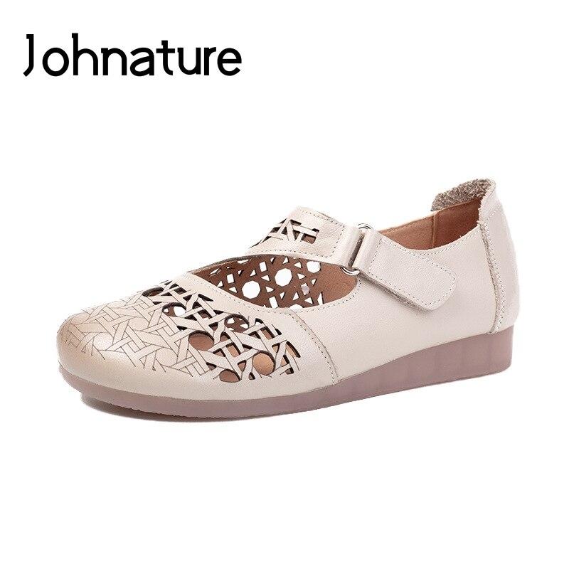 Johnature 2019 nouveau été en cuir véritable décontracté crochet & boucle rétro Plaid cales couverture talon sandales femmes chaussures