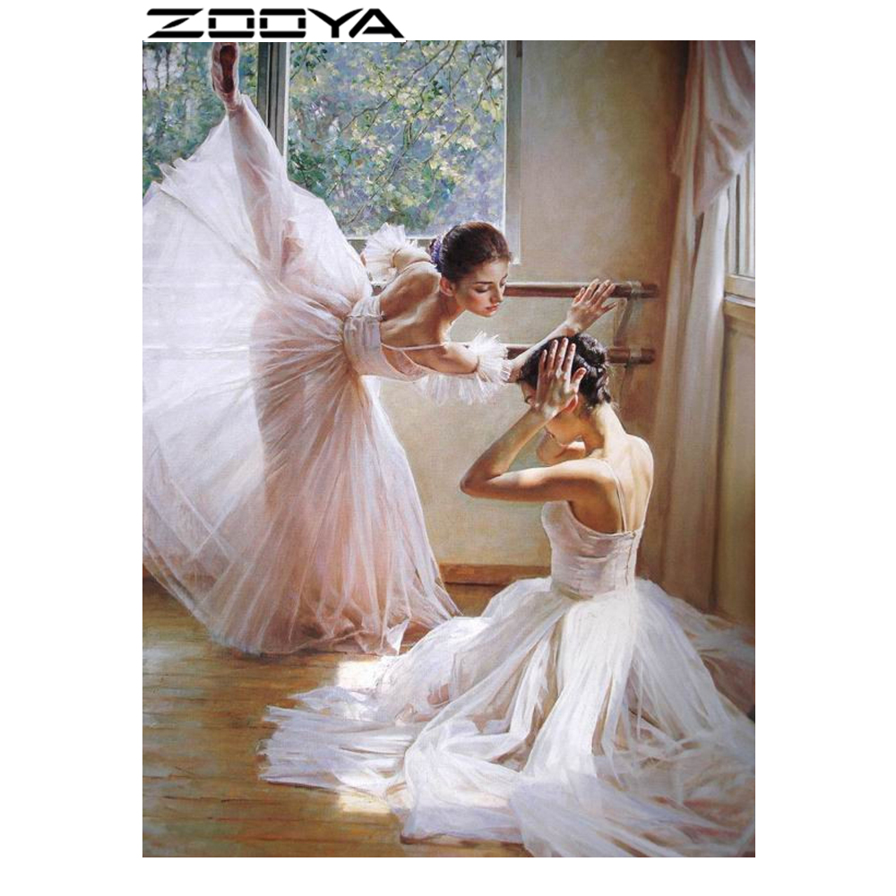 ZOOYA Diamond Embroidery Rhinestones Embroidery Diamond Cross Stitch Beauty Characters Two Girl In A Long Dress Dancing R457