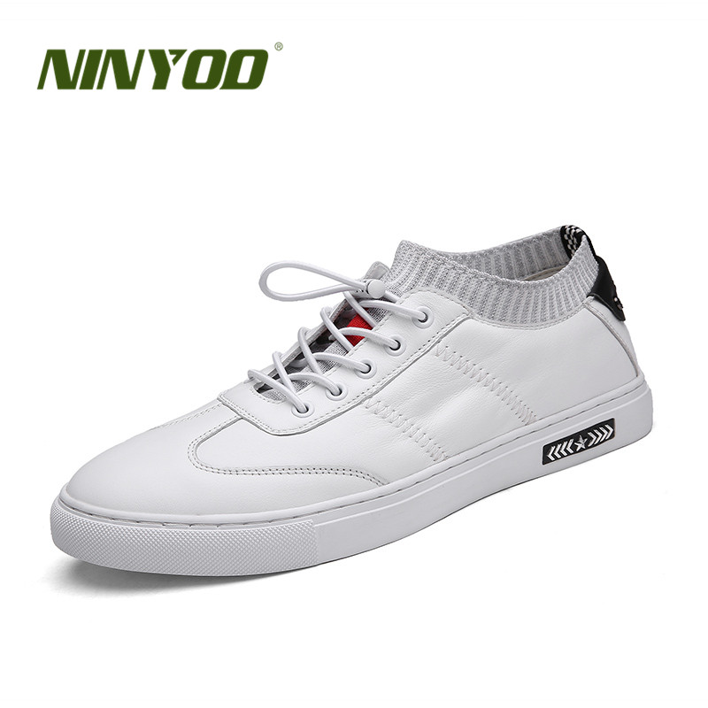 NINYOO Fashion Men's Casual Shoes Genuine Leather Sneakers Small Size 36 37 White Socks Shoes Male Sneakers Plus Size 48 49 50