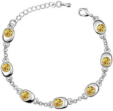 Подарок на день рождения, высокое качество, 7 бусин, Звездные глаза, браслеты с кристаллами, модные ювелирные изделия, 12 цветов, милые Подвески для женщин - Окраска металла: silver yellow