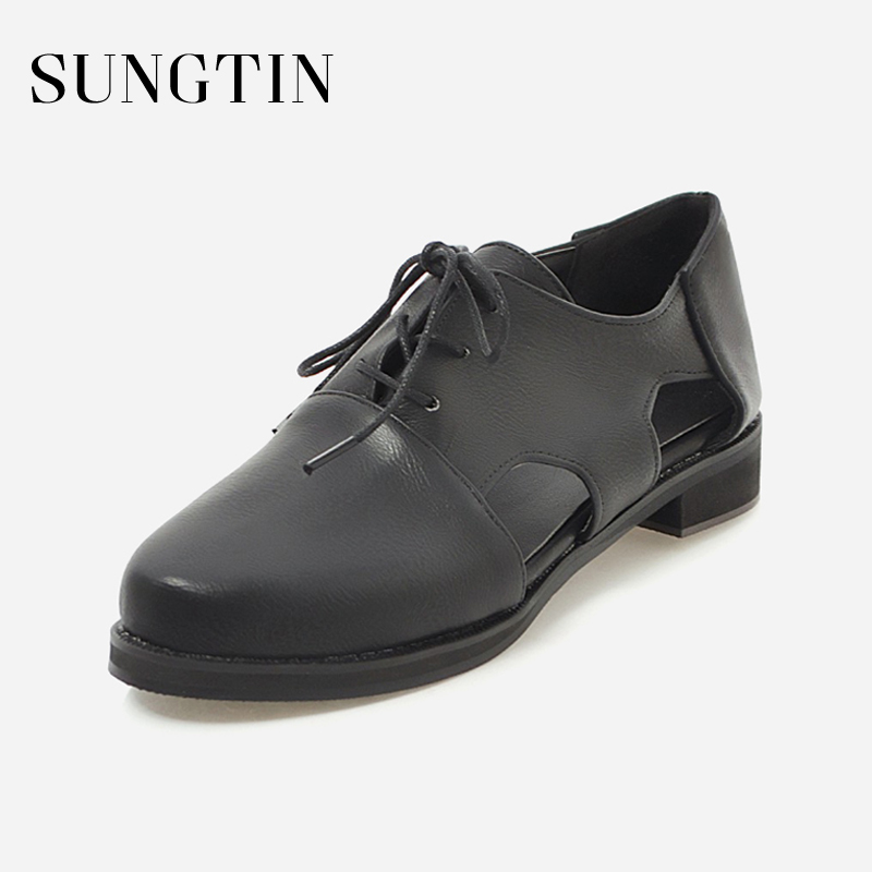 Sungtin 2018 Summer PU Leather Oxfords Shoes Women Flats Girl Casual Round Toe Lace Up Flats Hollow out Shoes Large Size 43 foreada genuine leather shoes women flats round toe lace up oxfords shoes real leather casual boat shoes brown pink size 34 40