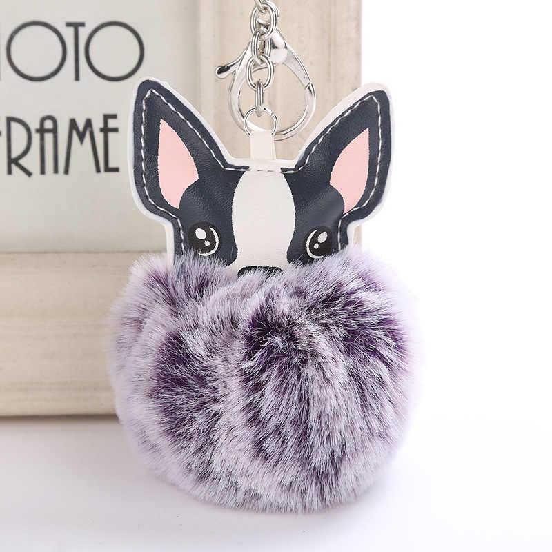 2018 nova Fluffy Pele De Coelho Pompom Bola Francês Bulldog Keychain Chaveiro de Couro Pu Animal de Estimação Cão Chaveiro Saco Titular charme