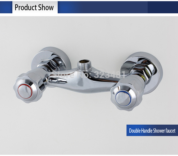Brass Bath Shower Faucets Mixer Double Handle Wall Mounted hot ...