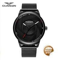GUANQIN Watches Men Thin Quartz Watch Fashion Carbon Fiber Dial Black Genuine Watches Waterproof Male Clock Mens Wristwatches
