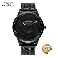 Guanqin relojes hombres cuarzo reloj moda carbono Fibra dial negro genuino relojes impermeable reloj masculino mens Relojes