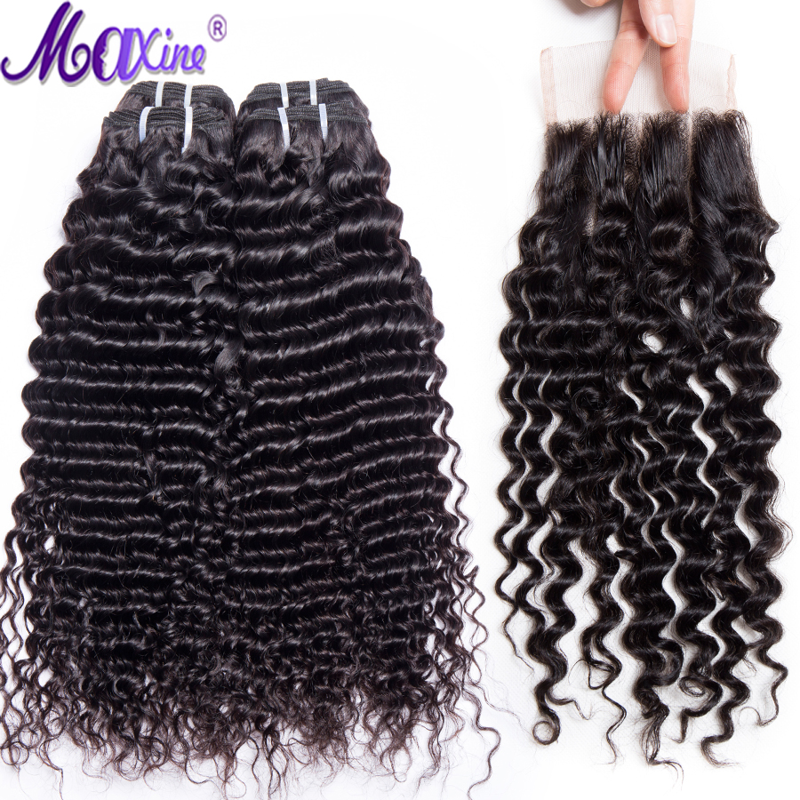 Maxine hair Deep Wave Bundles With Closure 3 Bundles Weave Human Hair Bundles With Closure Middle