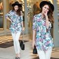 2016 Floral Women Blouses Slim Chiffon Shirt Women Shirts Cherry Casual Ladies Tops Printed Chiffon Blouse Women Blusas Feminina