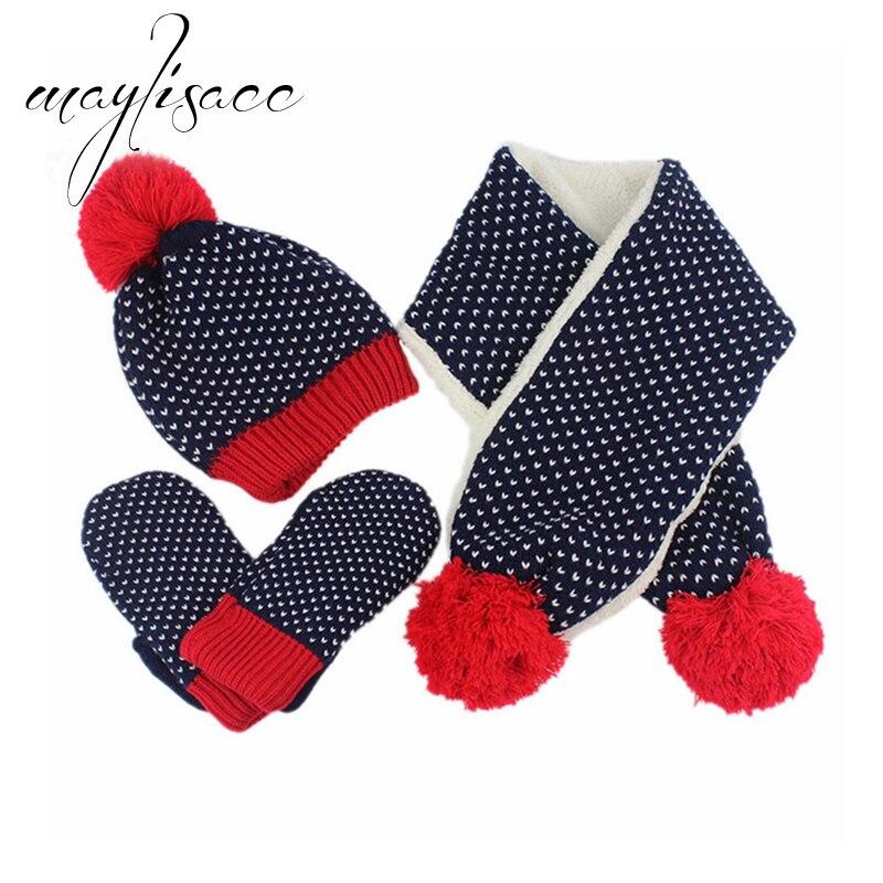 Maylisacc Kinder Winter Warme Gestrickte Schals Handschuhe Mit Hut Set Für 2 Zu 6 Jahre Alt Jungen Mädchens Schal Hut Set Weihnachten Geschenk