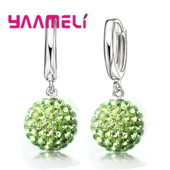 New Fashion Super Shiny Colorful Cubic Zirconia Earrings Jewelry For Women Girls Present 925 Sterling Silver Crystal 2