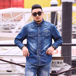 Image 3 - Spring Autumn Denim Shirt Plus Large Size 4XL 5XL 6XL Mens Long Sleeve Shirts Loose Fit 100% Cotton Embroidered Cowboy Shirts
