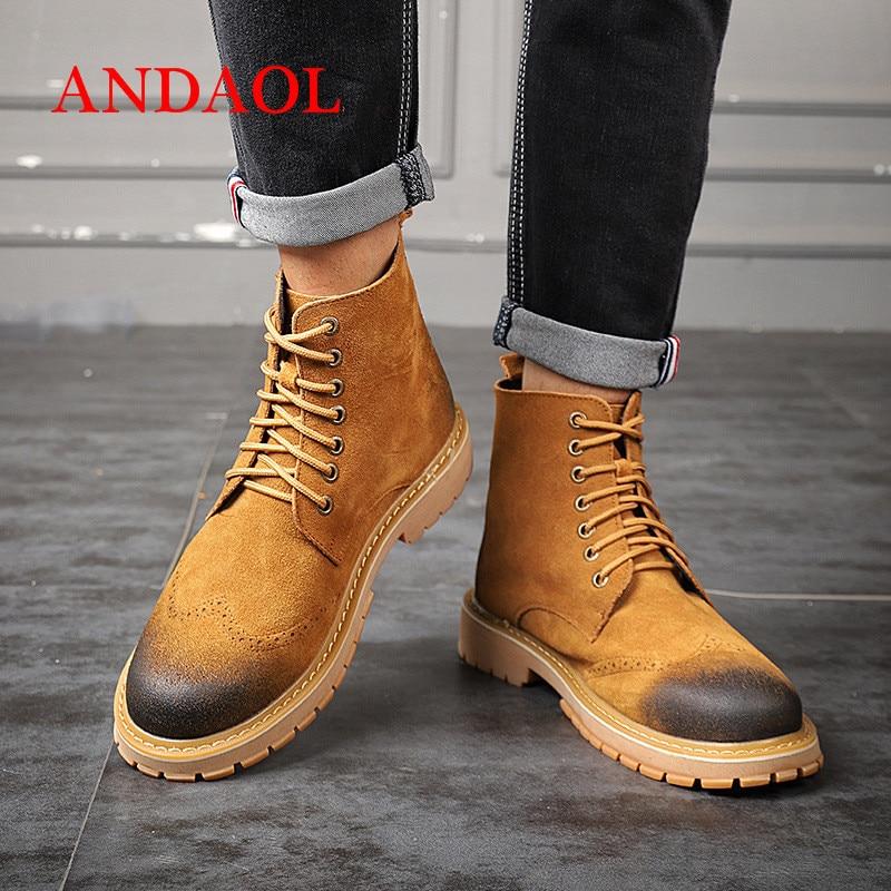 De Neve Botas Quente Confortáveis Rodada Sapatos Com Novo No Luxo Oxfords Andaol Amarelo Dos Deserto Couro Toe Homens Superior Tornozelo Genuíno Tira Qualidade w4CXRqxCF