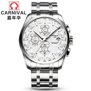 Image 2 - Meccanico automatico svizzera di marca degli uomini orologi da polso di moda di lusso cinturino in pelle orologio da polso impermeabile 100M orologio relogio reloj