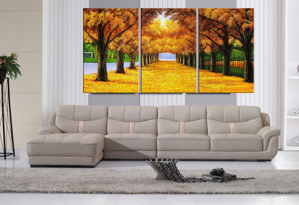 Fallout 3pcs autumn golden forests fall leaves painting for Decoration murale vannerie