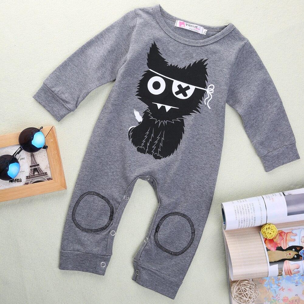 2016 Newborn Baby Boy Girl Cat Circle Print Long Sleeve Cotton Romper Playsuit Jumpsuit Onesie Clothes
