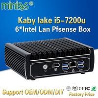 Minisys новые блок pfsense 7th Gen Kaby Lake Intel i5 7200u 2,5 ГГц Dual Core Безвентиляторный корпус 6 lan мини компьютера сервера поддержка AES NI