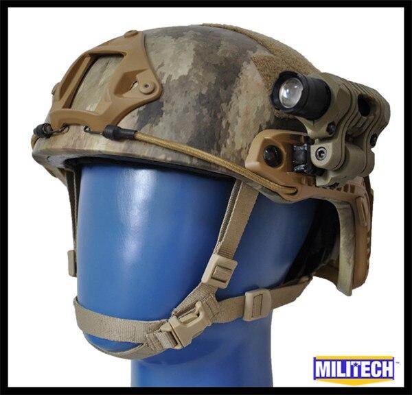 M/Lg ATACS-AU Camo Tested NIJ LVL IIIA Ballistic Imported Kevlar High Cut Bulletproof Helmet ACH-3 MICH MC CAG Flashlight Set