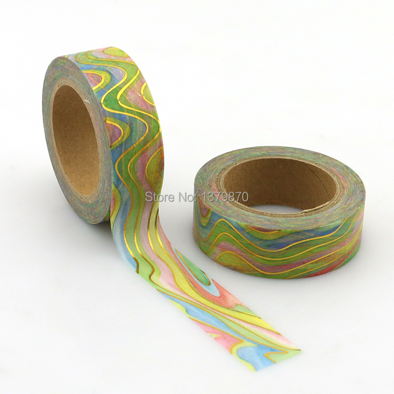 NEW 15mm*10M Foil Washi Tape Watermark Rainbow Color - High Quality Paper Adhesive Tape Golden Sticky Paper Tape Masking Tape